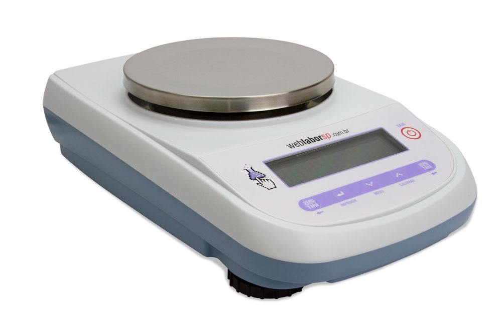 Balança Semi Analítica modelo 3200G 0,01g série L3102, tem estrutura de caixa dupla, teclado ergonômico, projetada para o uso acadêmico.